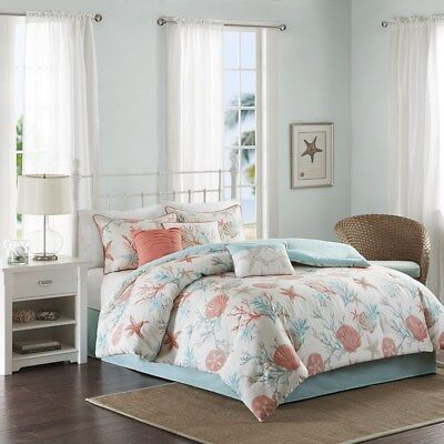 Cal Coral (Coral Teal Seashells, Starfish, Beach CAL KING Comforter Set (7 Pc Bed In A Bag))
