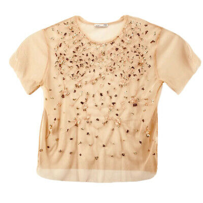 Zara Womens Blouse Pink Gold Floral Short Sleeve Mesh Layer Embroidered Sequin M
