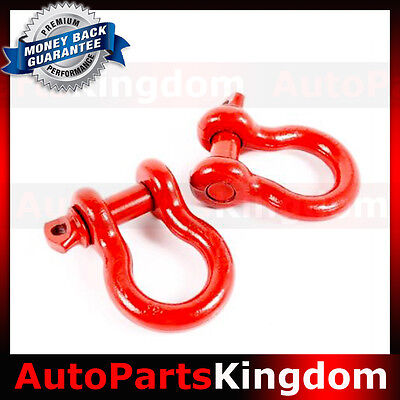 """1 Pair 3/4"""" RED 4.75 Ton D-Ring Bow Shackle Heavy Duty Off road ATV RV Bumper"""