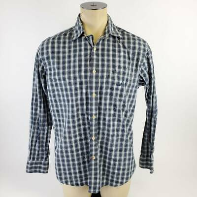 Nautica Mens Button Up Shirt Blue White Plaid Long Sleeve Tailored Fit Cotton L