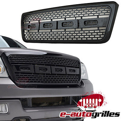 04-08 Ford F150 Glossy Black ABS Front Bumper Upper Hood Packaged Grille w/Shell
