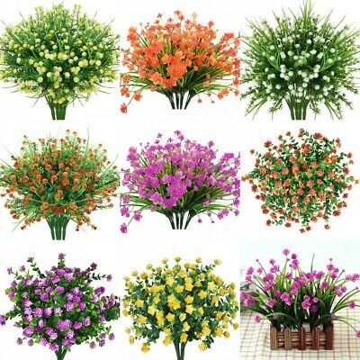 4pcs Artificial Flowers Fake Plant Outdoor Faux Floral Greenery Shrubs Rose Deco ()