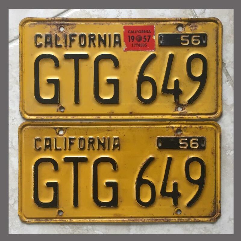 1956 Passenger Car Original CALIFORNIA License Plates Pair DMV Clear YOM