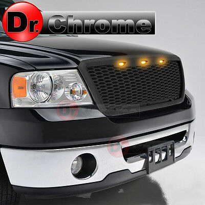 04-08 Ford F150 3x Amber LED Raptor Style Matte Black Mesh Packaged Grille Grill