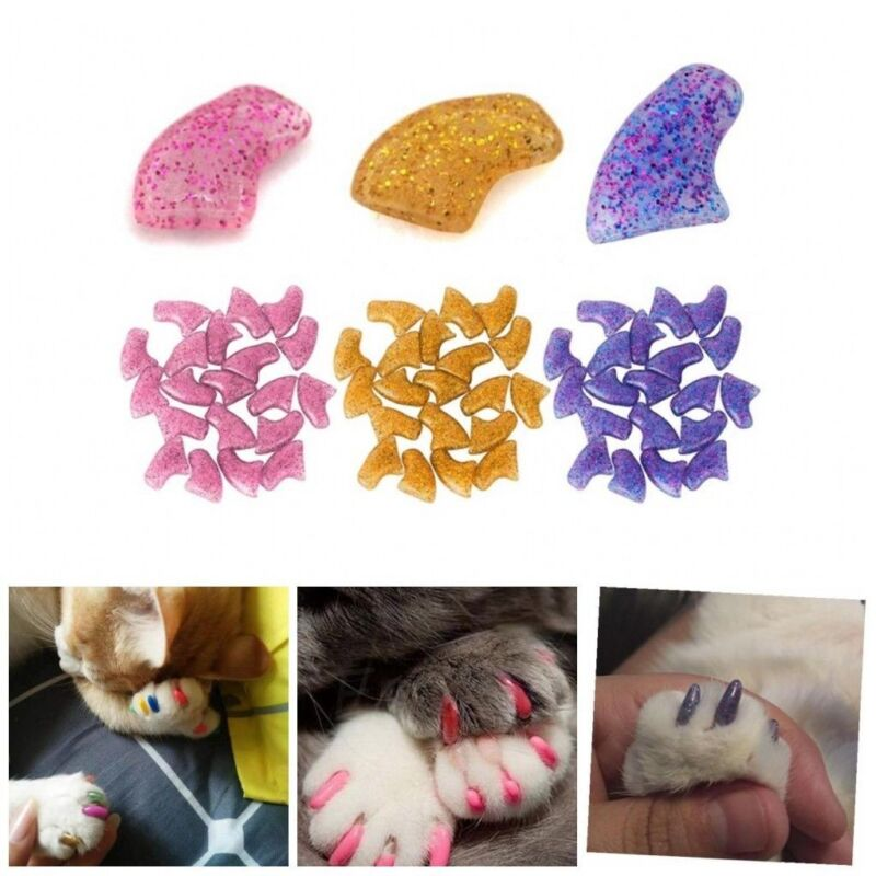20PCS Simple Soft Rubber Pet Dog Cat Kitten Paw Claw Control Nail Caps Cover US
