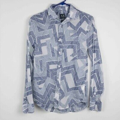 Armani Exchange Mens Button-Up Shirt Blue White Geometric Long Sleeve Cotton XS