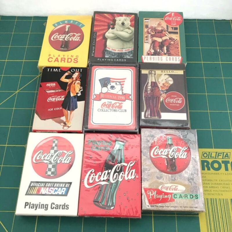 9 Coca Cola Coke Playing Cards Nascar Christmas Fountain 8 Sealed 1 Unsealed