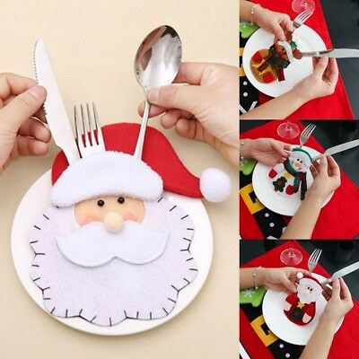 Christmas Table Decoration (Cute Christmas Santa Holder Dinner Table Decor Cutlery Silverware Bag)