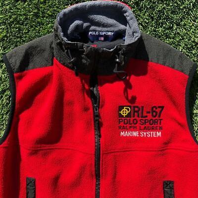 Rare VTG 90s Polo Ralph Lauren Sport RL-67 Marine System Fleece Vest Jacket L