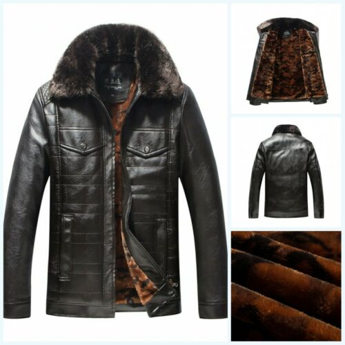 Details about Men Warm Winter Overcoat Leather Lamb Fur Lined Thick Coat Fashion Cowboy Jacket