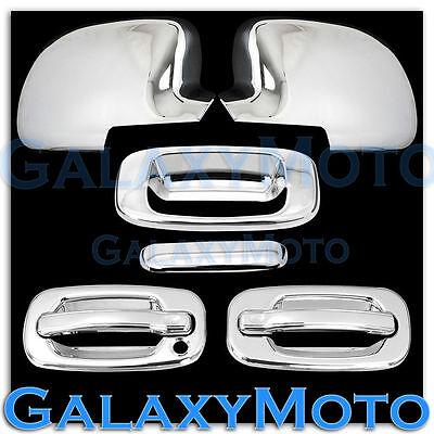 99-06 Chevy Silverado 1500 Chrome Mirror+2 Door handle w/o PSG KH+Tailgate Cover 06 Chrome Door Handle Covers