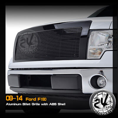 09-14 Ford F150 Black Aluminum Replacement Billet Grille W/Black ABS Shell