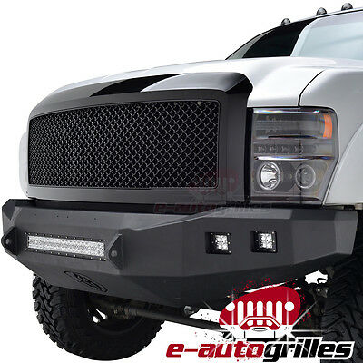 08-10 Ford Super Duty ABS Glossy Black Replacement Mesh Grille Grill With Shell