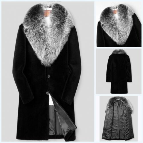 Faux Mink Fur Collar Trench Coat Men/'s Cashmere Overcoat Jacket Outwear FK15