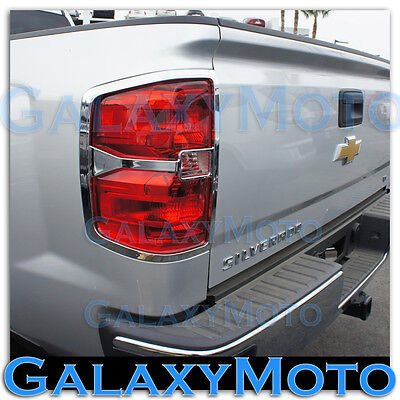 14-15 Chevy Silverado 1500 Extended+Crew Cab Triple Chrome Taillight Trim Cover