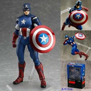 Captain America Action Figure Figma 226 Marvel Avengers Man Set Kids Gift Box
