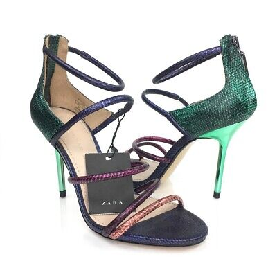 Zara Woman Strappy Sandals Stiletto Heels Shoes Green Purple Snake Print 5 New