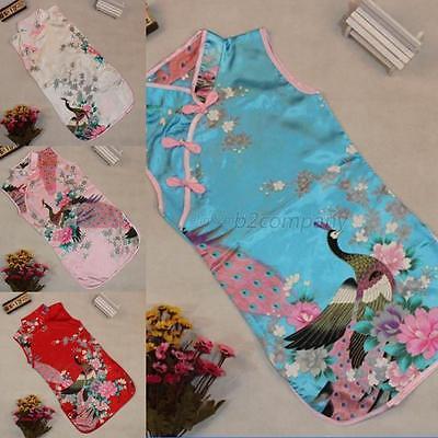 Elegant Girls Kids Dress Floral Peacock Cheongsam Chinese Qipao Baby Child Dress