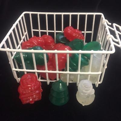 Novelty Reusable Plastic Ice Cubes 24 Christmas Shapes w Basket & Tongs