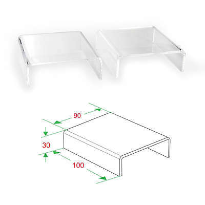 2x Clear Acrylic Riser Stand Counter Jewelry Display 4l X 1-316h X 3-12d