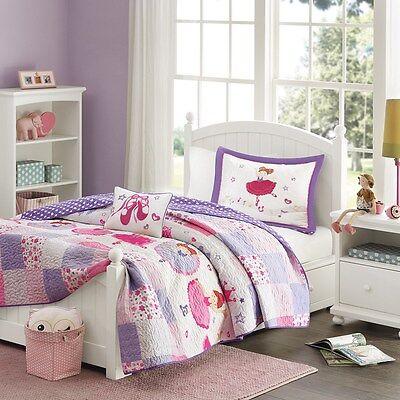 Ballerina Twin Quilt (Ballerina Ballet Princess Girls Twin Quilt, Sham & Toss Pillow (3 Piece Bedding) )