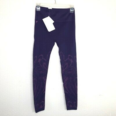 Fabletics Womens Leggings Pants Purple High Rise Stretch Ribbed Waistband XS New