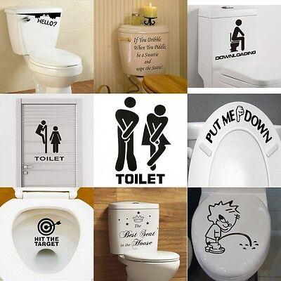 New Toilet Seat Wall Sticker Vinyl Art Removable Bathroom Decals Decor (Decor Toilet)