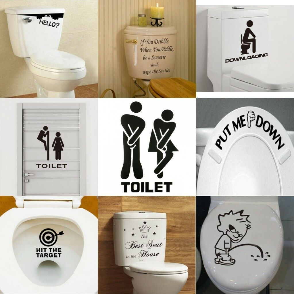 Diy toilet seat wall sticker decals vinyl art removable for Bathroom decor ebay