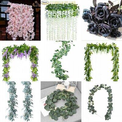 Lots Artificial Plants Flower Greenery Garland Vine Faux Silk Vines Leaf Wreath - Silk Flower Wreaths