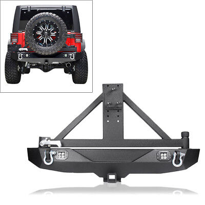 Rear Bumper w/ Tire Carrier &LED Lights for 2007-2018 Jeep Wrangler JK