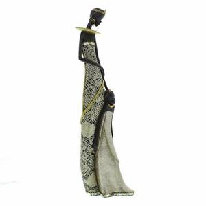 Silver and Black African Masai Snakeskin Effect Figurine Gift Statue 68951