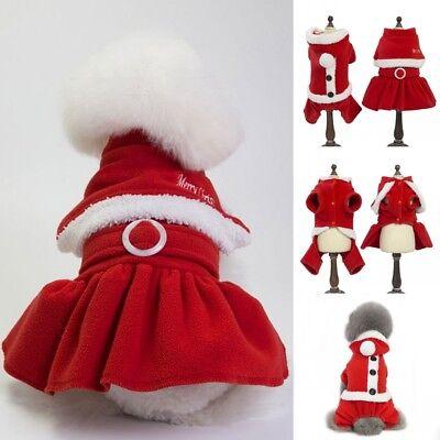 Christmas Small Dog Pet Cape Mr. Ms. Santa Hoodie Dress Jumpsuit Coat Apparel US - Pet Christmas Clothes