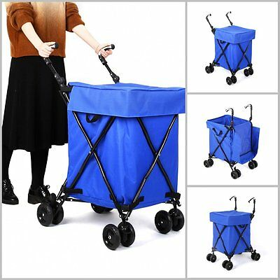 4 Wheel Shopping Trolley Caged Bag Folding Case Lightweight Fold Flat Push Cart