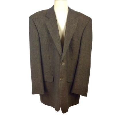 Jack Victor Super 100s Mens 46L 2 Button Blazer Sport Coat Brown Wool Box Check