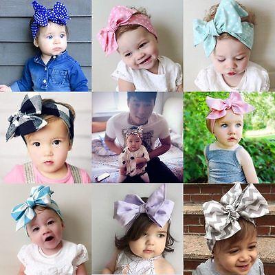(Baby Kids Girls Turban Rabbit Ears Big BowKnot Hairbnd Wave Headband Headwrap)