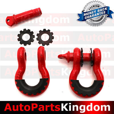 """1 Pair 3/4"""" RED 4.75 ton D-ring Shackle with Isolator Washers Silencer Clevis"""