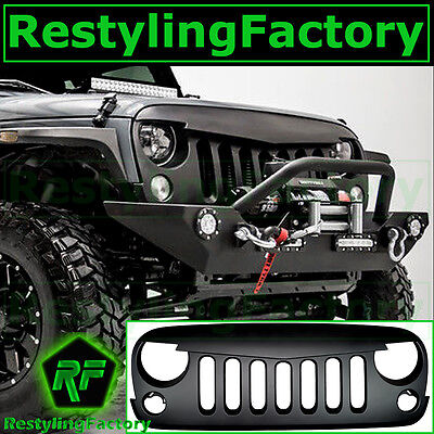 Matte Black Angry Bird Replacement Grille Shell for 07-17 Jeep JK Wrangler