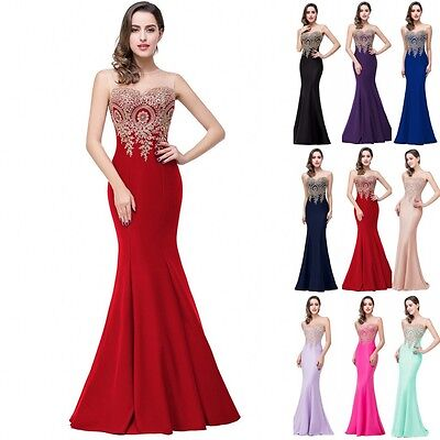 Long Evening Formal Party Dress Prom Ball Gown Bridesmaid Mermaid Applique New