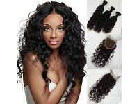 """Brazilian Virgin Natural wave /Wet and wave 18""""20""""22 £14 Lace closure 350g 9A collection or posted"""