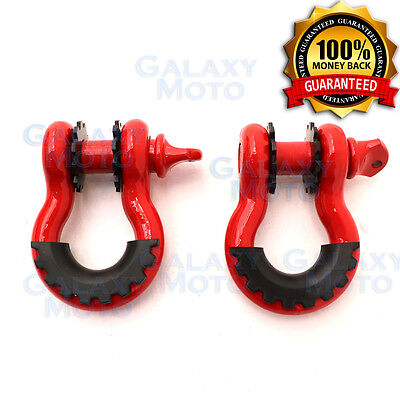 "1 Pair 3/4"" RED 4.75 Ton D-Ring Shackle w/Black Isolator Washers Silencer Clevis"
