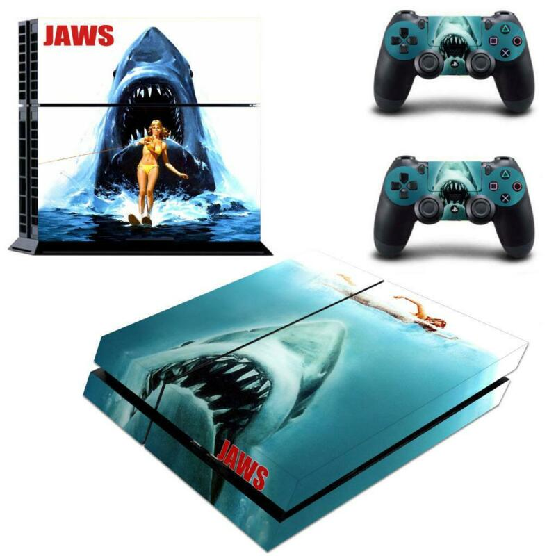 Jaws+Shark+Horror+Vinyl+Decals+Stickers+Covers+for+PS4+Console+Controllers+Skins