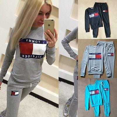New Women Tommy Hilfiger letter Tracksuit Set 2pcs Tops+Pants Suit Sweatshirt