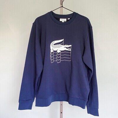 Lacoste Mens Pullover Sweater Blue Crew Neck 100% Cotton Knit Alligator L New