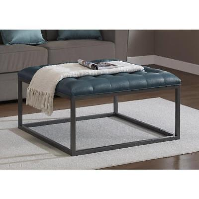 Square Tufted Leather Ottoman - Square Coffee Table Ottoman Tufted Upholstered Teal Leather Metal Oversized NEW