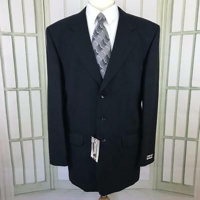 - Emiuo Bruzzi Men's Suit Jacket 3 Button Wool Navy with Gold Windowpane Size 46 L