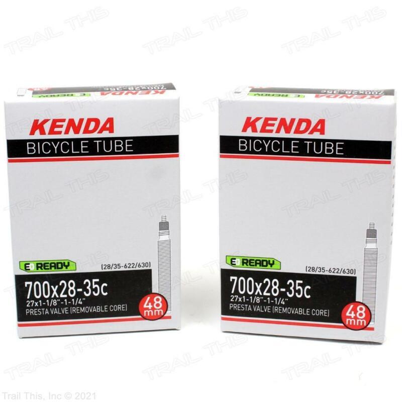 Two (2) Pack Kenda 700 x 28-35c 48mm Threaded Presta Valve Road Bike Inner Tubes