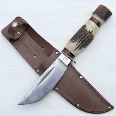 George Wostenholm Sheffield vintage IXL hunter-skinner knife, stag, orig sheath