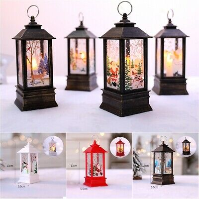 Christmas Retro LED Simulation Flame Light Portable Hanging Lantern Xmas Decor
