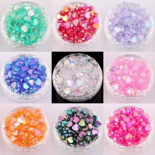 Lots 200 pcs Heart Acryl AB Color Spacer Beads For Jewelry M