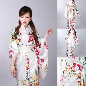 Japanese Kimono Vintage Yukata Haori Costume Retro Geisha Dress Obi Cosplay